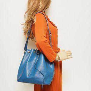 Auth Louis Vuitton Noe Blue Epi Shoulder #3384L13